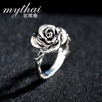 Very Thai s925 Thai silver rose ring Lady finger fashion ring jewelry Valentine's Christmas gift