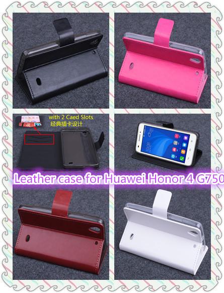 Huawei Honor 4 G750 Case,Original High Quality Horizontal Flip PU Leather Case Cover sleeve For Huawei Honor 4 G750,Free Ship(China (Mainland))