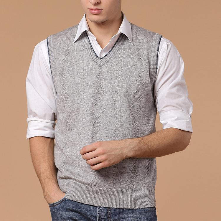 Размер сша зима мужчины свитер бренд кашемир пуловер вилочная часть свободного покроя светло-серый без рукавов мужчины в одежда 0931