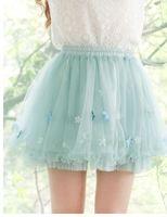 2015 S M Women Fashion Flowers Wave Organza Chiffon Ball Gown Short Skirt Students Preppy Party Club Empire Mini Skirt 3273