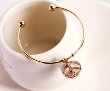 Gold silver peace cuff bracelets bangles/korean luxury strass hand chain/pulsera mujer/pulseiras femininas/brazalete/female/gift