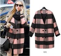 Autumn Winter coat Women Tops Outerwear 2015 New Arrival Fashion Plaid wool coat  jacket