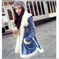 Free Shipping new 2015 Lady fan thickened skin lambs wool warm hooded coat jacket 20141241972