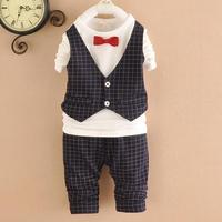 4set/lot baby boys sets shirts+pants kids sets plaid children suits 2pcs factory 757
