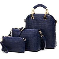 crocodile embossed  brand women shoulder across  three piece suit bag big ladies handbag