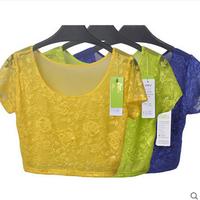 2015 summer women tops half gauze bottoming shirt  short-sleeved T-shirt short section exposed navel blouse  white/black/red