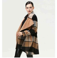Free Shipping in spring warm coat women long baggy Plaid woolen cloth coat 201412253563