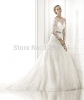 2015 Wedding dress New Arrival White Mermaid Wedding Dress long sleeve Beaded belt Lace Appliques Sweep Train Bridal Gowns