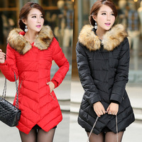 2015 winter wadded jacket female medium-long large fur collar down jacket cotton-padded plus size women outerwear