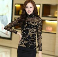 4 Colors autumn winter plus size (S-XXXL) turtleneck women body casual t shirt,slim all-match mesh OL elegant fashion blusas HOT
