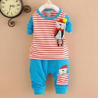 4set/lot baby sets stripe 2015 spring kids suits shirts+pants children sets wholesale 745