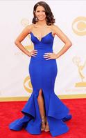 Free Shipping Mermaid V Slit Side Blue Royal Rocsi Diaz Emmy Awards Prom Dresses Long Evening Gown With Ruffles Bottom