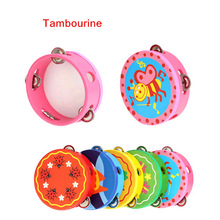 Hand Held Tambourine Drum Bell Cartoon Pattern Wooden Percussion Musical Toy for KTV Party Kids Top Quality(China (Mainland))