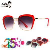 2015 Festive Red Semi-Rimless Ladies Sunglasses Streetchic Gradient UV400 Sun Glasses Women oculos feminino gafas