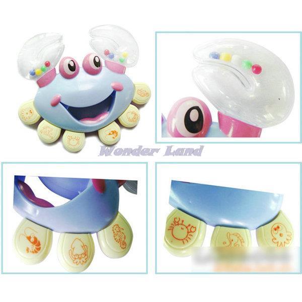 Wonder Land-Kids Baby Musical Instrument Colorful Handbell Plastic Shaking Crab Rattle Toy(China (Mainland))