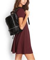 AC634 trendy fashion woman solid Backpack motorcycle bag black dark gray