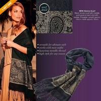 AC636 elegant woman Warm High Quality geometric prints cotton shawl scarf Scarves black