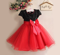 2015 new summer princess girl dress shinning color kids elegant dressparty baby girl princess clothing free shipping many colors