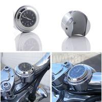 "7/8"" 1"" Motorcycle Handlebar Chrome Black Dial Clock For Kawasaki VN KZ Cruiser #4515"