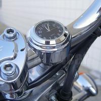 "7/8"" 1"" Motorcycle Handlebar Chrome Black Dial Clock For Yamaha Cruiser Bobber #4515"
