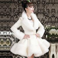 2015 new elegant V-neck slim female outerwear autumn / spring and winter rabbit & fox fur wool overcoat white long women skirt