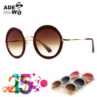 New in ADE WU's Women Round Sunglasses Brown Sun Glasses Female oculos escuros redondo gafas de sol mujer SMU50Q