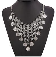 New design fashion necklace multilayer coin necklace retro punk alloy Retro necklaces & pendants statement necklace women