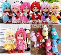 new 2015(6 pcs/lot send random) 8cm baby toys for girls baby doll plush toy cell phone& bags pendant barbies doll nesting dolls