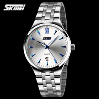 Men's Full Stainless Steel Glow Quartz Casual Fashion Dress Wristwatch with Calendar 30m Waterproof