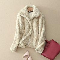 Hot Selling 2014 Woner Faux Fur Coat Short Design Rabbit Fur Coat Winter Fur Jacket Female Ourterwear Balck Beige Color