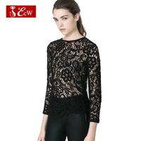 ECW Sexy Lace Women T shirts Hollow Shirt For Women O-Neck Perspective Lace Blouas Spring Summer Women Tops