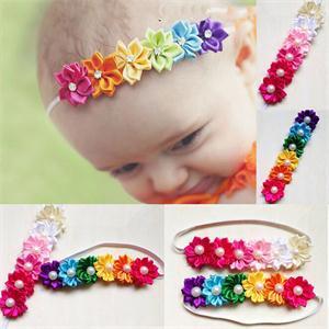 Portable Cute Baby Girl Hairband Rainbow Colorful Flower Hair Acessories Photography Kids Headwear Accs(China (Mainland))