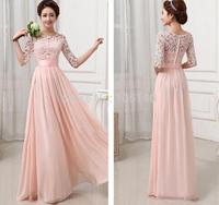 6 Colors A-Line Floor-Length Lace Chiffon Evening Dress Elegant Wedding Party Dress Formal Dresses Vestido De Festa S M L XL XXL