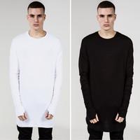 Hot solid men long sleeve T shirts hip hop fashion mens shirts casual top tees plus size XXXL