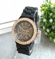 Wholesale 2014 GENEVA within quartz watch silicone watch diamond drill neutral shadow watches, women rhinestone watch 10pcs/lot