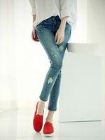 2015 spring summer new desigual low waist slim show thin women girl pencil pants denim jeans capris woman clothes wholesale Sale