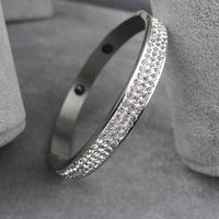 Wholesale Platinum plated Stainless steel Bangle Crystal Vintage Round Bracelets & Bangles with Crystal Rhinestone Beads bangle