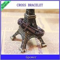 New Christmas 2015 Fashion Mens Women Jewellery pulseira masculina Genuine Leather Cross Bible Bracelet Men pulseira de couro