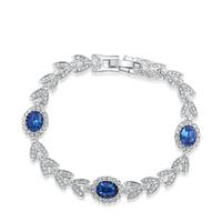 Fashion 18K White Gold Noble Jewelry Blue Cubic Austria Crystal Charm Silver Leaf Chain Bracelet Top Quality