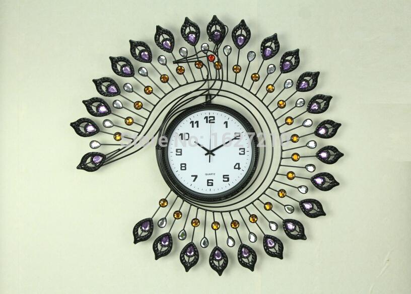 2015 new trend of modern home decor clocks peacock wall