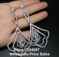 Top Quality Vintage Long Earring Swiss Cubic Zirconia Diamond Drop Earrings For Women