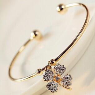 Gold clover cristal cuff bracelets bangles korean luxury strass hand chain pulsera mujer pulseiras femininas brazalete