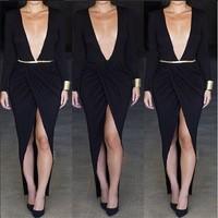 2015 Promotion Tropical Vestidos Free Shipping Vestido De Renda New Women Deep V Neck Irregular Hem Long Sleeved Bandage Dress