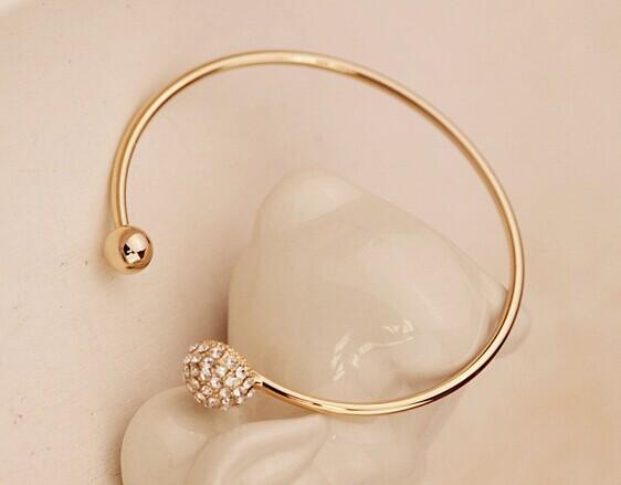 Gold cristal heart cuff bracelets bangles korean luxury strass hand chain pulsera mujer pulseiras femininas brazalete