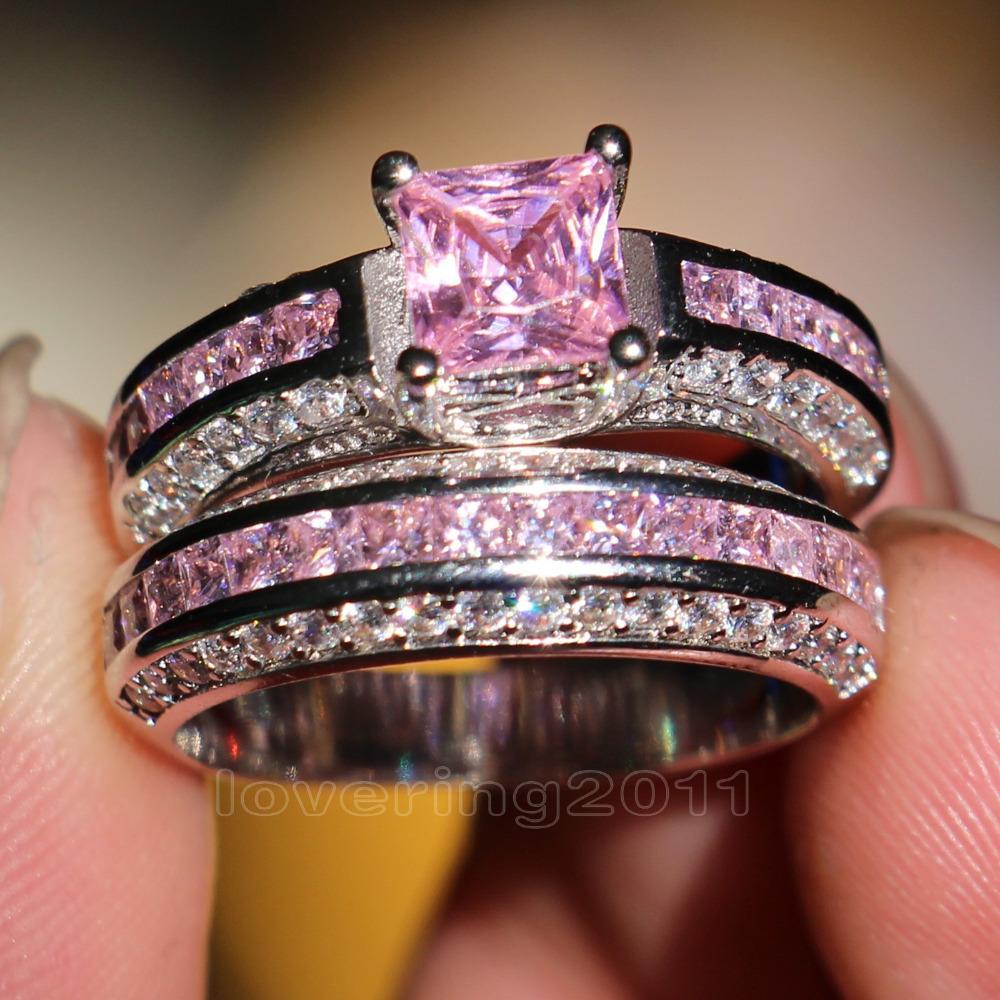 Victoria Wieck Princess cut Pink sapphire Simulated diamond 10KT White Gold Filled engagement Wedding Band Ring Set Sz 5-11 Gift(China (Mainland))
