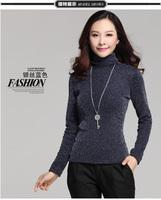 2014 Autumn Winter Brand Desigual Long Sleeve Turtleneck Gold Sliver Thicken Mesh Body Casual Tops T Shirt Blusas Femininas XXXL