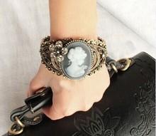 Kpop antique Personalized hollow cameo bracelets bangles/korean luxury flower strass pulsera mujer/pulseiras femininas/brazalete