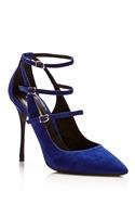 Newest 2015 JC/Nicholas Kirkwood Blue Suede Multi Strap Pumps Women genuine leather shoes/pumps