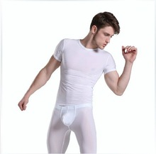 1 set white mens pajamas sleepwear sexy fastoin see through Manview yoga pants sheer tight gay wear home underwear shorter pants(China (Mainland))