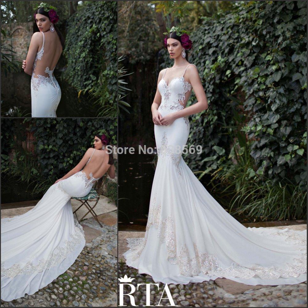 Mermaid Wedding Gowns With Long Trains : Bridal gown spaghetti straps mermaid long train sexy backless wedding